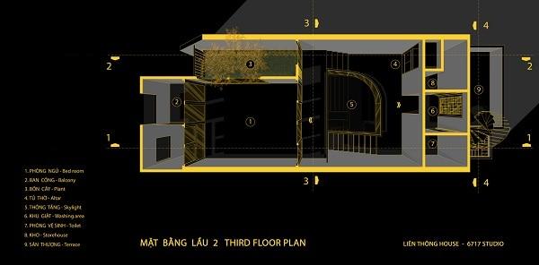 mặt bằng lầu 2 của nhà phố liên thông